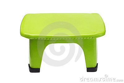 Green plastic stool