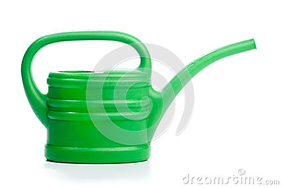 Green plastic toy watering can