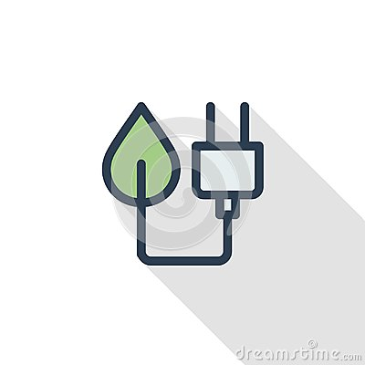 Free Green Plug, Eco Energy Power Socket Thin Line Flat Color Icon. Linear Vector Symbol. Colorful Long Shadow Design. Royalty Free Stock Image - 109038506
