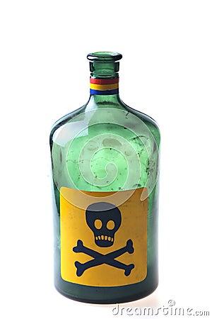 Studio shot of an empty poison bottle isolated on white.