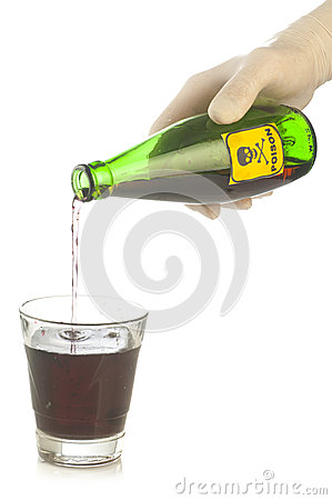 Free Green Poison Bottle With Skull And Crossbones On Hand Stock Image - 39964111