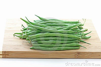 Green Pole Beans on Bamboo Chopping Board