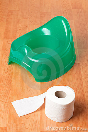 Free Green Potty With Toilet Paper Stock Photography - 14378252