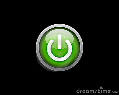 Green Power button on black background