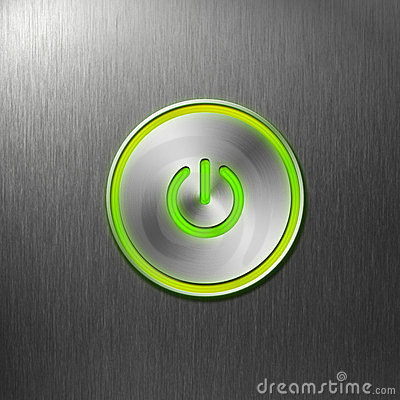 Free Green Power Button On Front Panel Of Computer Royalty Free Stock Image - 23733556