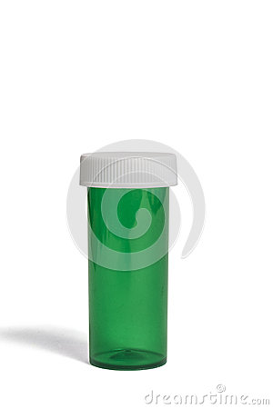 Green Prescription Bottle With Shadow