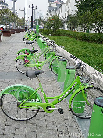 Green Public bicycles in Suzhou Editorial Photography