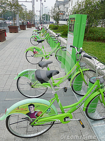 Green Public bicycles in Suzhou Editorial Photo
