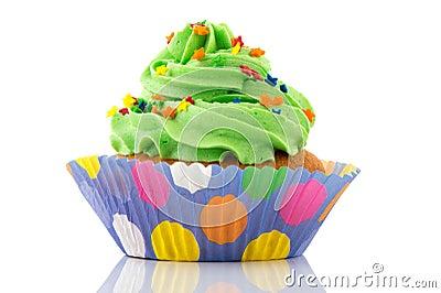 Green and purple cupcake