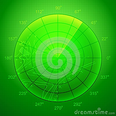 Green radar screen.