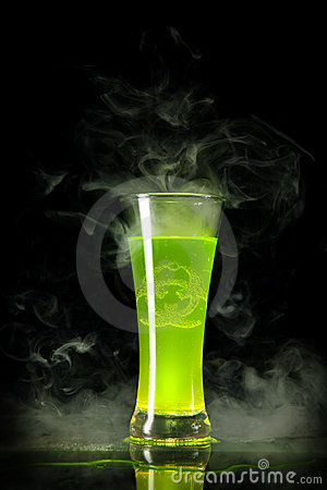 Green radioactive alcohol with biohazard