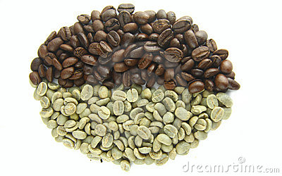 Green (Raw) and Roasted Coffee Beans