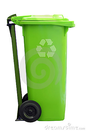 Green recycle garbage can