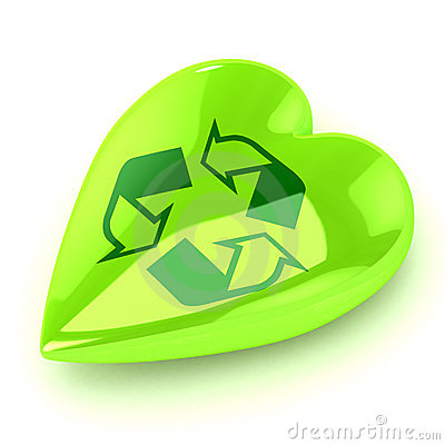 Green Recycle Heart