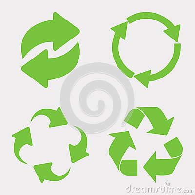 Free Green Recycle Icon Set Stock Images - 94570114