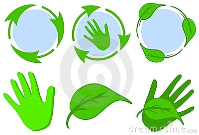 Green Recycle Symbols Leaves Hands