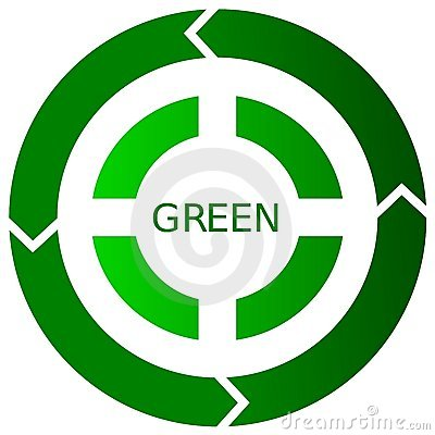Green Recycling Button Icon