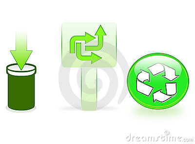 Green recycling icons
