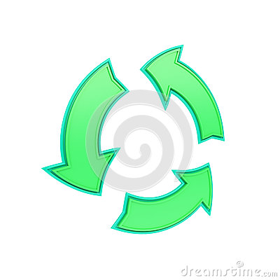 Green recycling symbol made from arrows