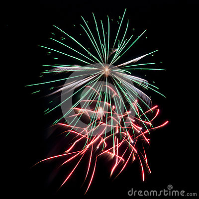 Free Green, Red And White Fireworks Stock Image - 88045081