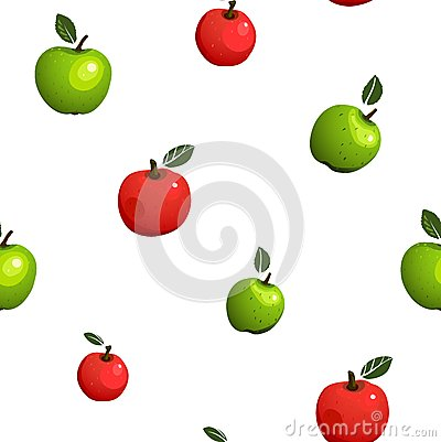 Green and Red Apple Seamless Pattern Illustration