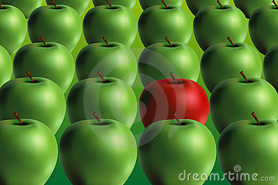 Green and red apple - vector file added
