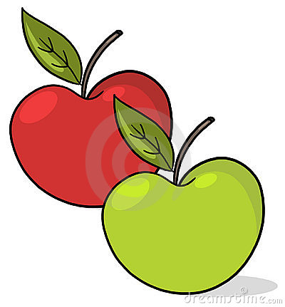 Green and red Apples illustration