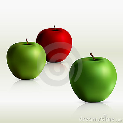 Green and red apples - vector file added