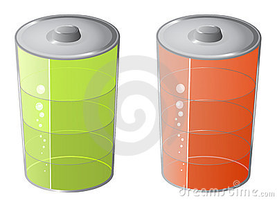 Green and red battery