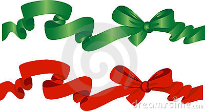Green and red bow