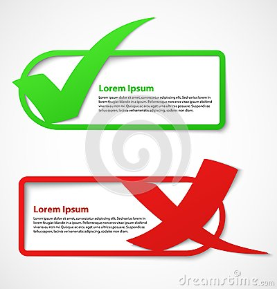 Green and red check mark banners