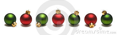 Green and Red Christmas Balls Border