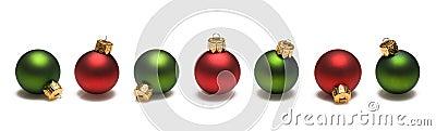 Green and Red Christmas Balls Border
