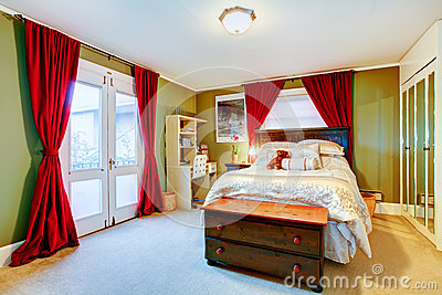 Green and red cozy young adult room stock photos image for Cute adult bedrooms