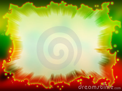 Green - red frame with blurred background