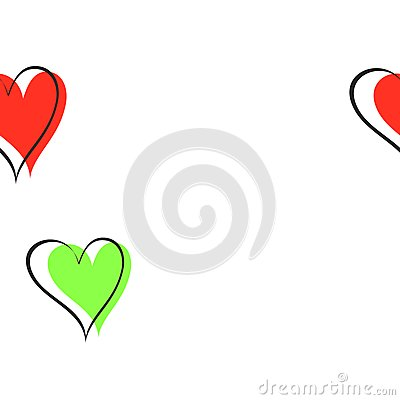 Green and red hearts