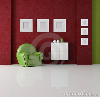 Green And Red Living Room Royalty Free Stock Photography Image 13707747