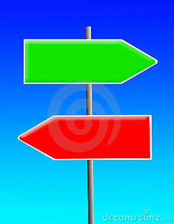 Green and red sign