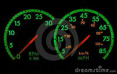 Green and Red Speedometer RPM