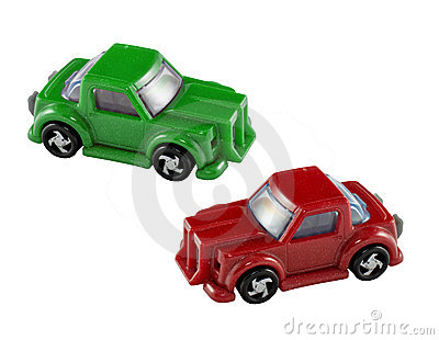 Green and red toy cars