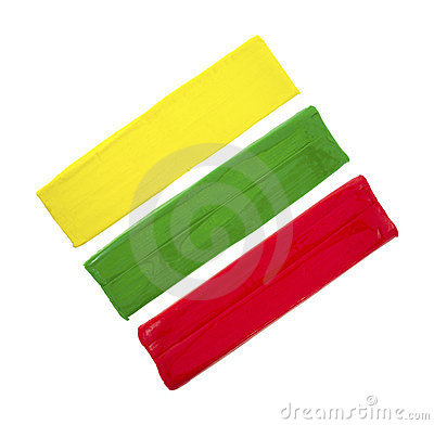 Green red and yellow modeling clay
