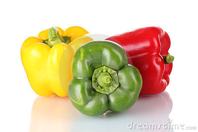 Green, red and yellow paprika