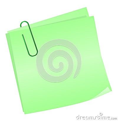 Green reminder notes