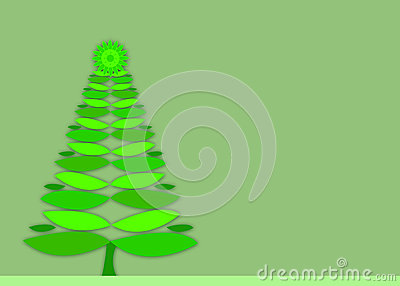 Green retro Christmas tree background