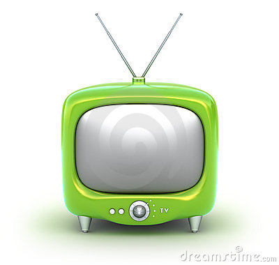 Green retro TV Set. Isolated on white background.