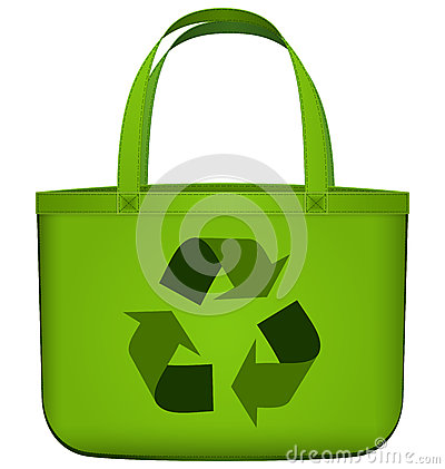 Free Green Reusable Bag With Recycling Symbol Vector Royalty Free Stock Photos - 32347818