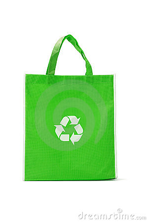 Green reusable shopping bag
