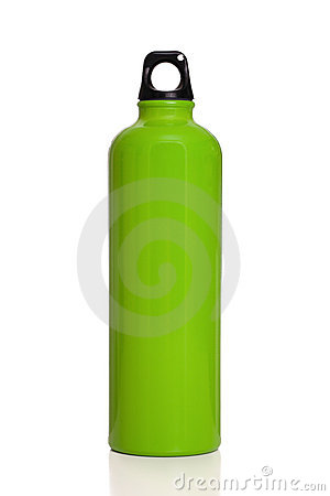 Green reusable water bottle isolated on white