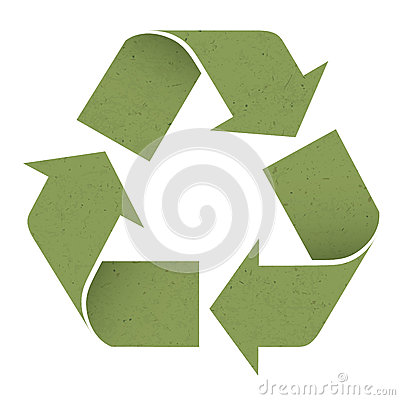 Green reuse symbol, isolated on white