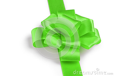 Green ribbon bow angle photo